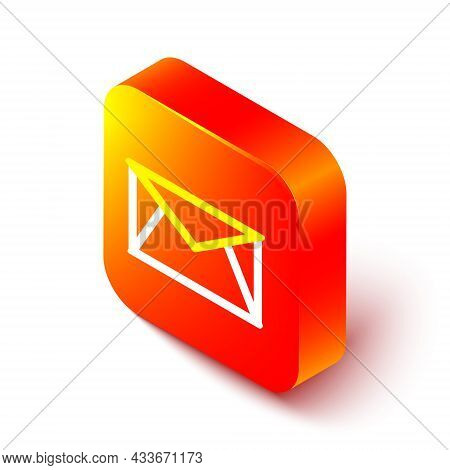 Isometric Line Mail And E-mail Icon Isolated On White Background. Envelope Symbol E-mail. Email Mess