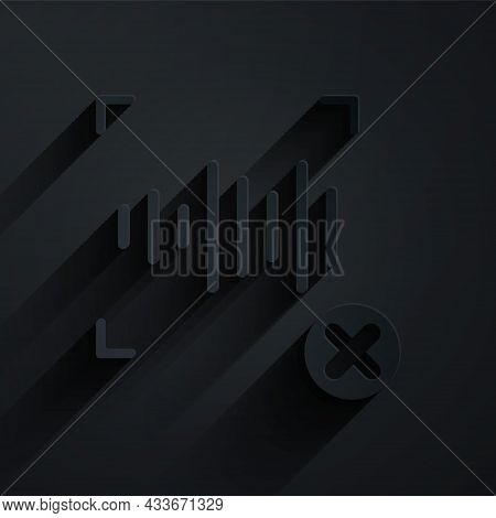 Paper Cut Rejection Voice Recognition Icon Isolated On Black Background. Voice Biometric Access Auth