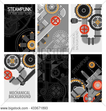 Machinery Parts Brochures Design With Industrial Pipes Mechanisms Valves Cogwheels And Gears Vector