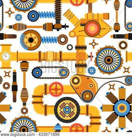 Machinery Seamless Pattern With Various Technical And Industrial Elements In Flat Style Vector Illus