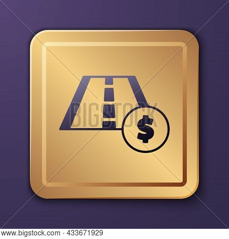 Purple Toll Road Traffic Sign. Signpost Icon Isolated On Purple Background. Pointer Symbol. Street I