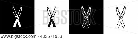 Set Gardening Handmade Scissors For Trimming Icon Isolated On Black And White Background. Pruning Sh
