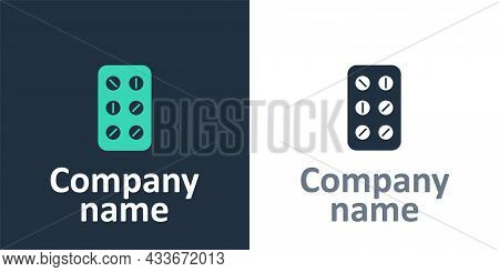 Logotype Pills In Blister Pack Icon Isolated On White Background. Medical Drug Package For Tablet, V