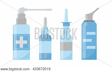 Medical Nasal Sprays. Vector Set. Medications For Rhinitis Treatment. Pharmacy Objects For Nose Isol