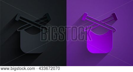 Paper Cut Knitting Icon Isolated On Black On Purple Background. Wool Emblem With Knitted Fabric And