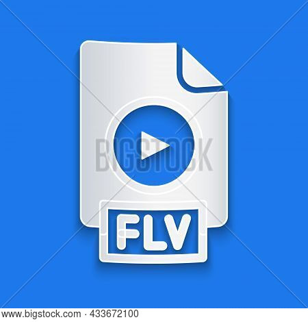 Paper Cut Flv File Document Video File Format. Download Flv Button Icon Isolated On Blue Background.