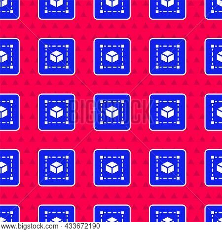 Blue Geometric Figure Cube Icon Isolated Seamless Pattern On Red Background. Abstract Shape. Geometr