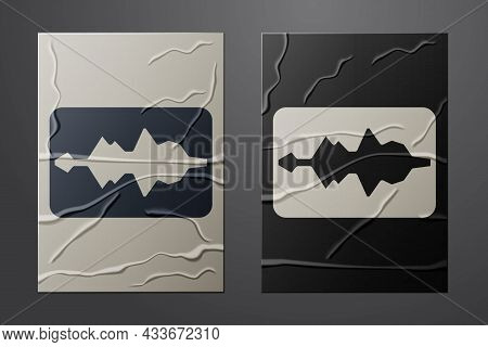 White Music Wave Equalizer Icon Isolated On Crumpled Paper Background. Sound Wave. Audio Digital Equ