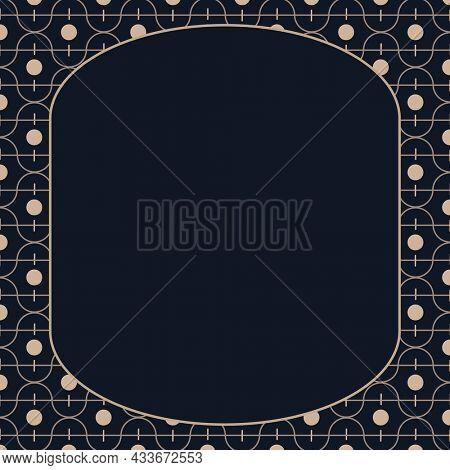 Gold art deco frame on black background