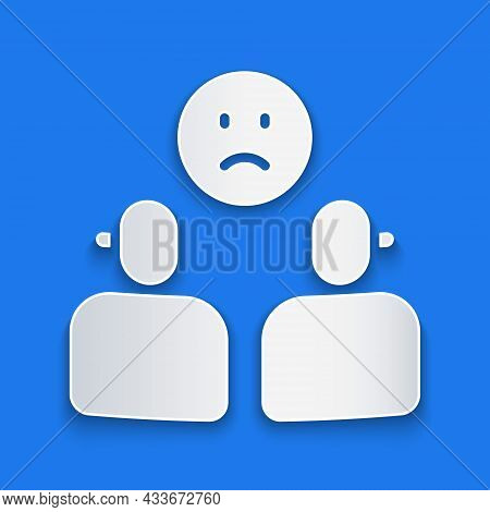 Paper Cut Complicated Relationship Icon Isolated On Blue Background. Bad Communication. Colleague Co