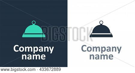 Logotype Covered With A Tray Of Food Icon Isolated On White Background. Tray And Lid Sign. Restauran