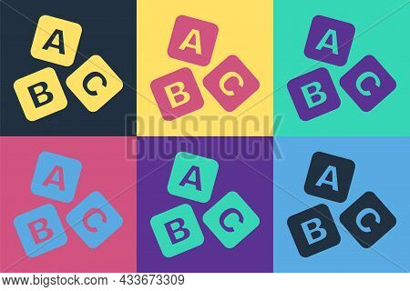 Pop Art Abc Blocks Icon Isolated On Color Background. Alphabet Cubes With Letters A, B, C. Vector
