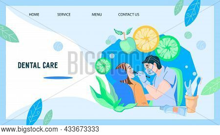 Website Banner With Dentist And Patient Undergoing Dental Health Checkup. Web Page Template For Dent