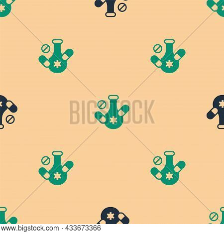 Green And Black Medicine Pill Or Tablet Icon Isolated Seamless Pattern On Beige Background. Capsule