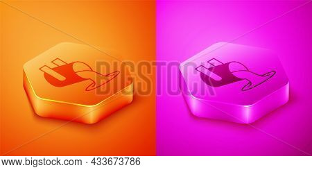 Isometric Molten Gold Being Poured Icon Isolated On Orange And Pink Background. Molten Metal Poured