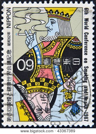 JAPAN - CIRCA 1987: A stamp printed in Japan dedicated to 6th world confrence on smoking and health