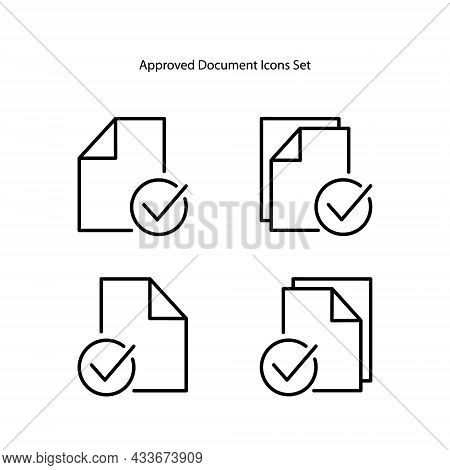 Approved Documents Icons Set. Outline Approved Documents Vector Icon For Web Design Isolated On Whit