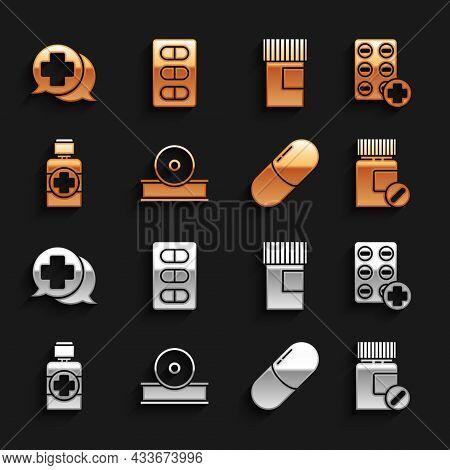 Set Otolaryngological Head Reflector, Pills In Blister Pack, Medicine Bottle And Pills, Tablet, Bott