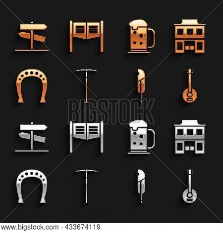 Set Pickaxe, Wild West Saloon, Banjo, Feather Pen, Horseshoe, Wooden Beer Mug, Road Traffic Signpost