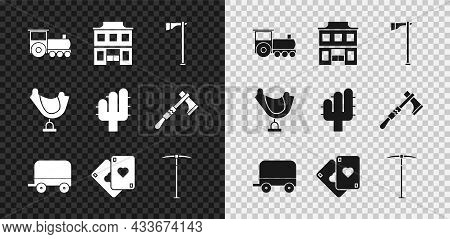 Set Retro Train, Wild West Saloon, Tomahawk Axe, Covered Wagon, Playing Cards, Pickaxe, Saddle And C