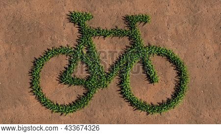 Concept conceptual green summer lawn grass symbol shape on brown soil or earth background, bicycle sign. A 3d illustration metaphor for recreation,  health, sport, ecological transportation or work