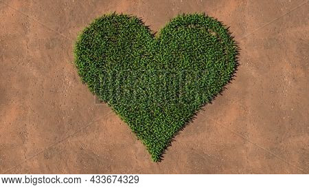 Concept conceptual green summer lawn grass symbol shape on brown soil or earth background, heart sign. A 3d illustration metaphor for love, romance, valentine's day, happiness, wedding, health or care