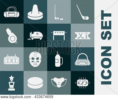 Set Hockey Table, Sport Bag, Sports Ticket, Ice Hockey Stick And Puck, Resurfacer, Whistle, And Icon