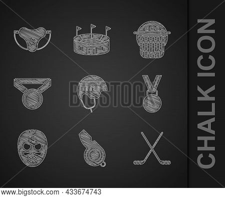 Set Hockey Helmet, Whistle, Ice Hockey Sticks, Medal, Mask, And Protective Sport Jockstrap Icon. Vec