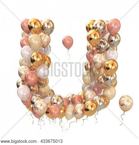 Letter U  from balloons isolated on white. Text letter for holiday, birthday, celebration. 3d illustration