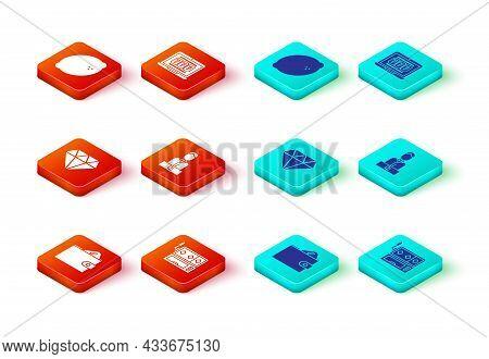 Set Wallet With Money, Slot Machine, Diamond, Casino Dealer, Laptop And Slot And Lemon Icon. Vector
