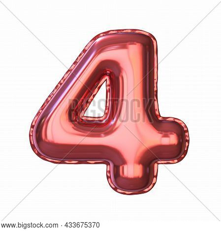 Red Metallic Balloon Font Number 4 Four 3d Rendering Illustration Isolated On White Background