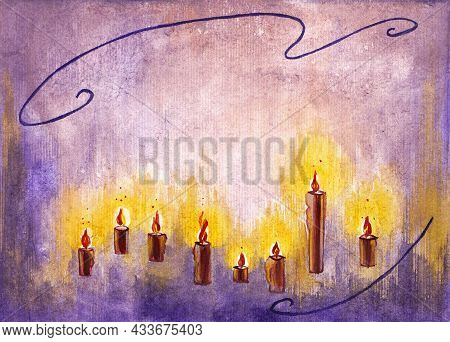 Painted Candles In Watercolor, Bright Burning Candles, Drawing Candles, Holiday Candles.