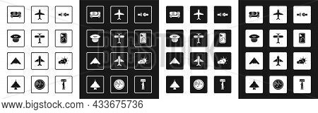 Set Safety Belt, Plane, Pilot Hat, Fuel Tanker Truck, Airplane Window, Sun And Cloud Weather And Jet