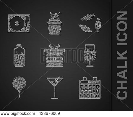 Set Gift Box, Martini Glass, Birthday Calendar, Cocktail And Alcohol Drink, Balloon With Ribbon, Mul