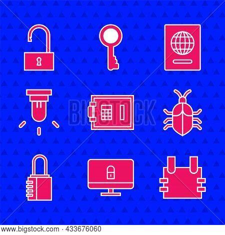 Set Safe, Lock On Computer Monitor, Bulletproof Vest, System Bug Concept, Combination Lock, Motion S