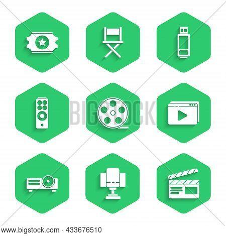 Set Film Reel, Director Movie Chair, Movie Clapper, Online Play Video, Movie, Film, Media Projector,