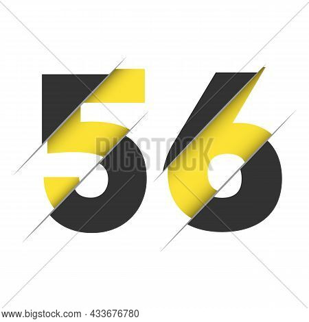 56 5 6 Number Logo Design With A Creative Cut And Black Circle Background. Creative Logo Design.