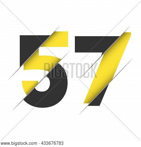 57 5 7 Number Logo Design With A Creative Cut And Black Circle Background. Creative Logo Design.