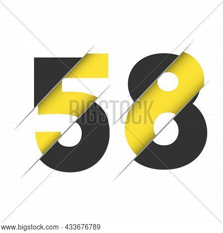 58 5 8 Number Logo Design With A Creative Cut And Black Circle Background. Creative Logo Design.