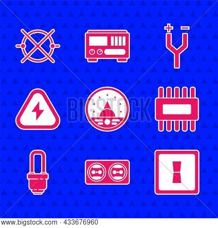 Set Ampere Meter, Multimeter, Voltmeter, Electrical Outlet, Light Switch, Processor With Microcircui