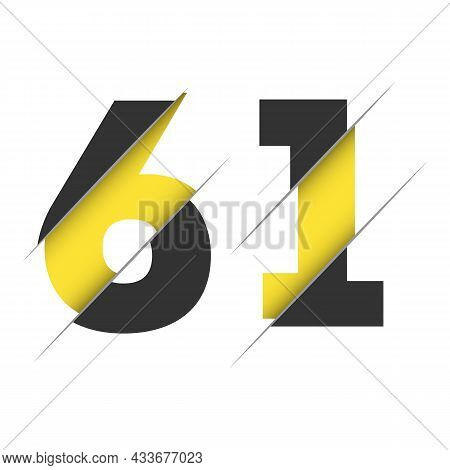 61 6 1 Number Logo Design With A Creative Cut And Black Circle Background. Creative Logo Design.
