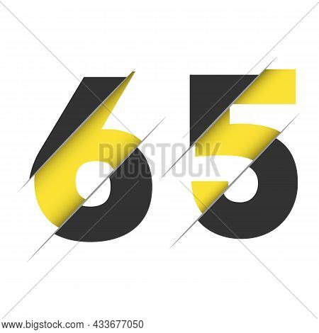 65 6 5 Number Logo Design With A Creative Cut And Black Circle Background. Creative Logo Design.