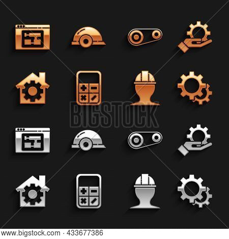 Set Calculator, Settings In The Hand, Gear, Worker Safety Helmet, House With Gear, Timing Belt Kit,