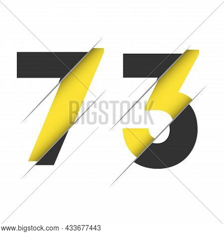 73 7 3 Number Logo Design With A Creative Cut And Black Circle Background. Creative Logo Design.