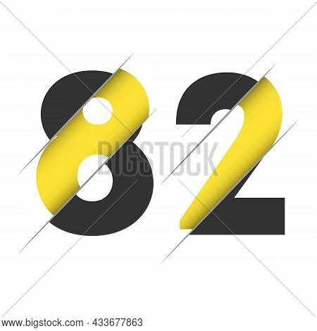 82 8 2 Number Logo Design With A Creative Cut And Black Circle Background. Creative Logo Design.