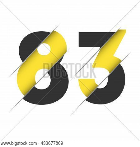 83 8 3 Number Logo Design With A Creative Cut And Black Circle Background. Creative Logo Design.