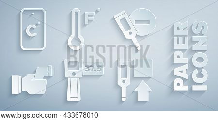 Set Digital Thermometer, Checking Body Temperature, Meteorology And Celsius Icon. Vector