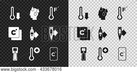 Set Meteorology Thermometer, High Human Body Temperature, Digital, Celsius, And Icon. Vector
