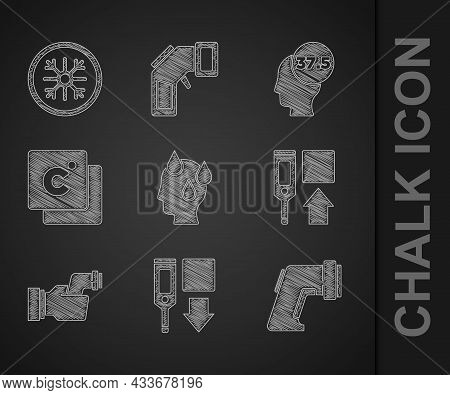 Set High Human Body Temperature, Digital Thermometer, Checking, Celsius, And Snowflake Icon. Vector