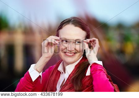 Portrait Of Smiling Woman 34 Years Old In Diopter Glasses.